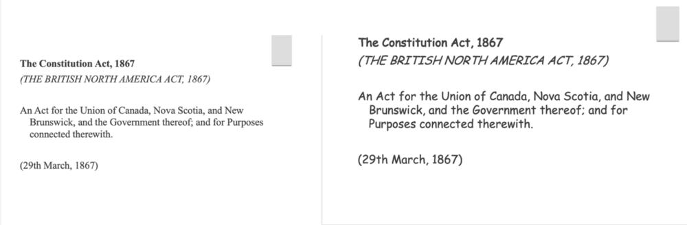 A comparison of Canada's constitution in a serif font vs. comic sans