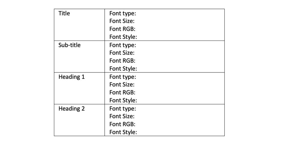 For each heading style (e.g., Title, Sub-title, Heading 1) include information on font type, font size, font RGB (colour), and font style.