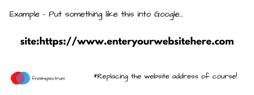 An example of the code you should put when doing a site search on Google.