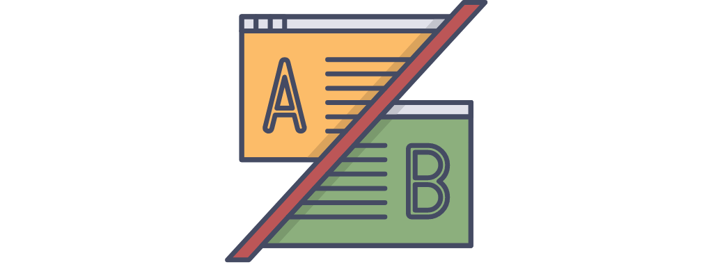 A simple icon representing A:B testing.