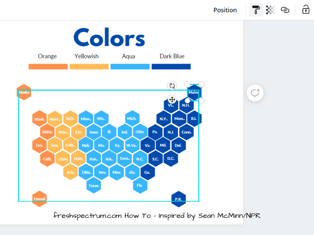 This is another illustrative example of a hex tile map being created in Canva.