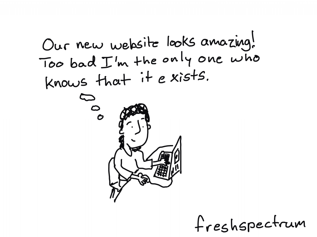 "Freshspectrum Cartoon by Chris Lysy. Person thinking: ""Our new website looks amazing!  Too bad I'm the only one who knows that it exists."""