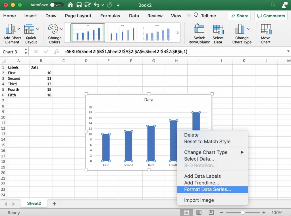 Formatting Menus Bar Chart Excel