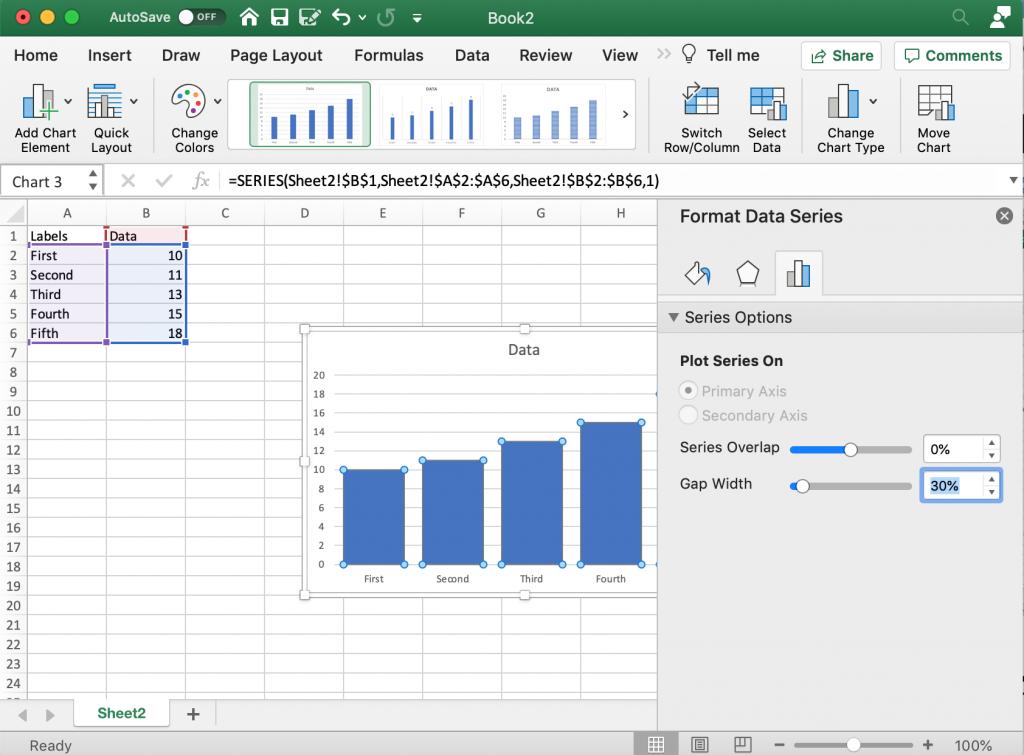 Making the Bars Bigger in Microsoft Excel