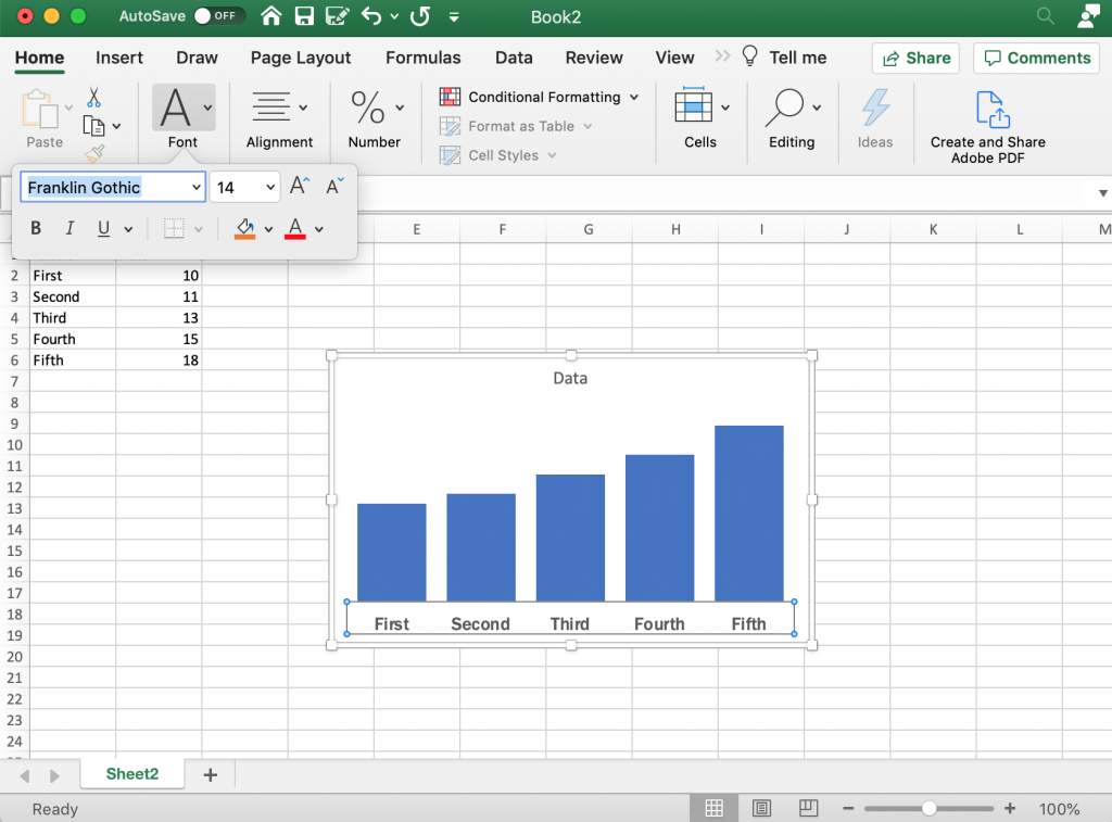 Increasing the Label Sizes in Excel Bar Charts