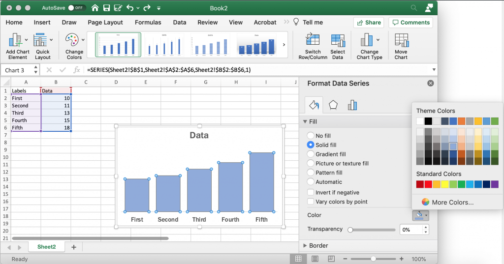 Changing Bar Colors in Excel Bar Charts