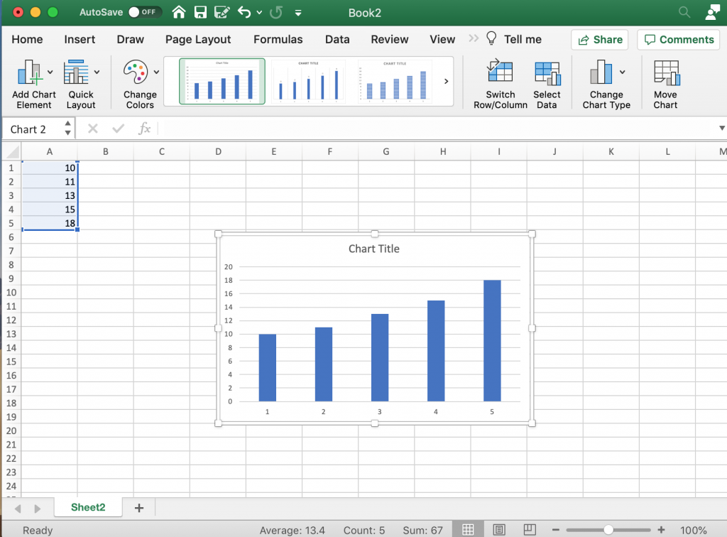 Creating a Bar Chart in Excel.
