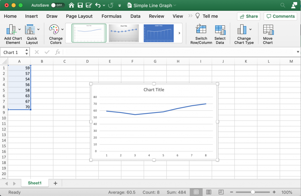 How to create a line graph in Excel - Step 3