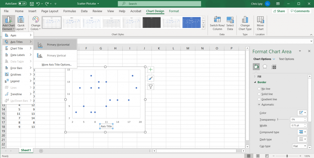 How to Create Scatter Plots in Excel - Labeling each Axis Illustration