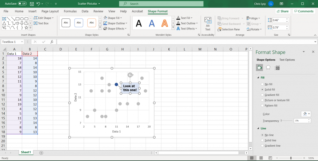 How to Create Scatter Plots in Excel - Adding Annotations Illustration
