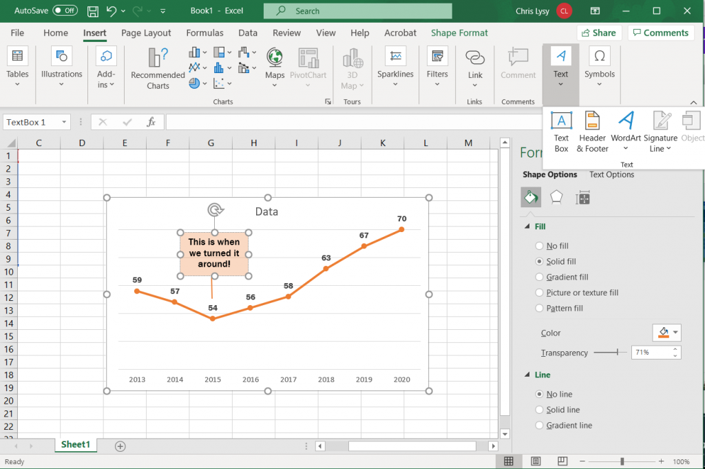 How to create a line graph in Excel - Adding Annotations