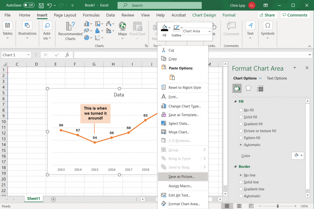 How to create a line graph in Excel - Saving the Image