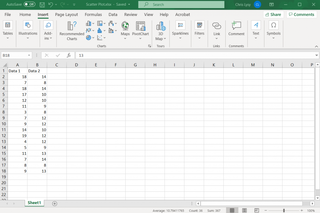How to Create Scatter Plots in Excel - Simplified How To Step 1 Illustration