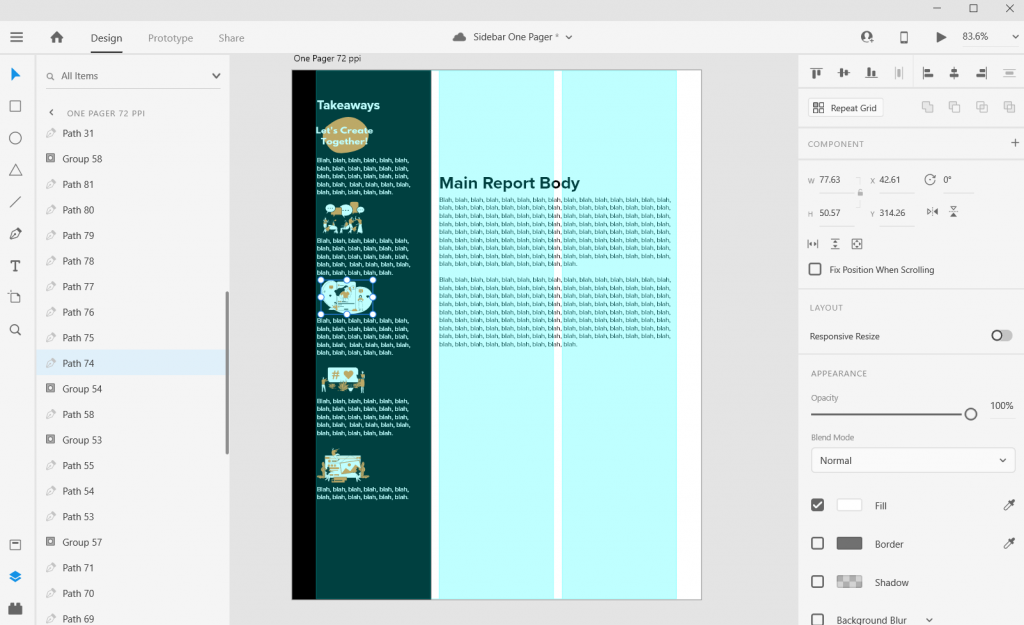 Sidebar Style One-Pager in Adobe XD Illustration Icon Illustrating