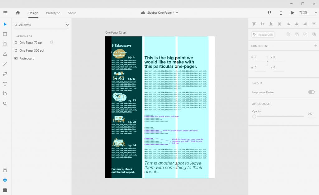 Sidebar Style One-Pager in Adobe XD Illustration Page Numbers