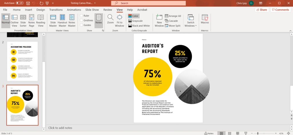How to Create Power Point Report Templates in Canva Illustration - Checking File in PowerPoint