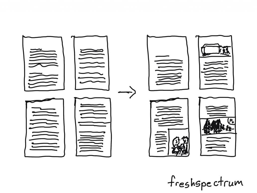 Add basic illustrations to create visual break points illustration.