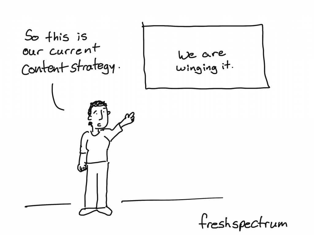 freshspectrum cartoon by Chris Lysy: So this is our current content strategy (we are winging it).