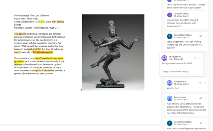 A screenshot of a Google Doc that we used in our label workshop. At the left is the text of the current label, in the middle is an image of a Southeast Asian bronze sculpture, and at the right are some of the comments from workshop participants.