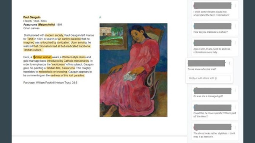 A screenshot of a Google Doc that we used in our label workshop. At the left is the text of the current label, in the middle is an image of Gauguin's painting of a Tahitian woman, and at the right are some of the comments from workshop participants.