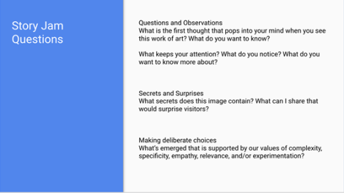 A screenshot of a PowerPoint Slide with a blue band at the left and a white background. Black text on a white background to the right outlines the story jam questions.
