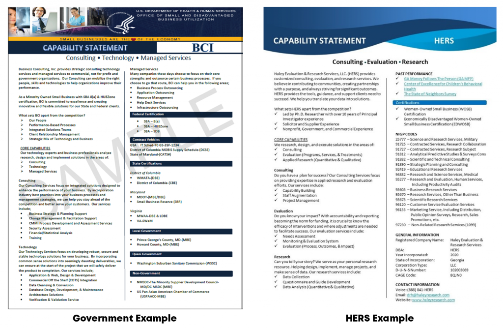 Lillian Haley based her company's capability statement off of an example provided on the U.S. Department of Health and Human Services website.