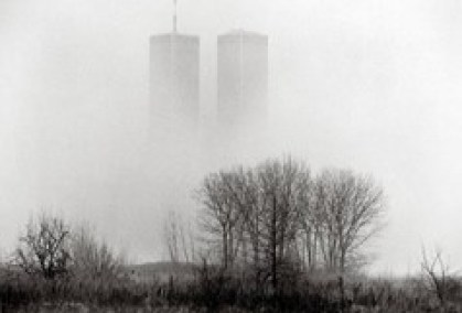 The Twin Towers hover over a swampy wilderness in Liberty State Park on a foggy, misty, ethereal morning. Jersey City. March 1991