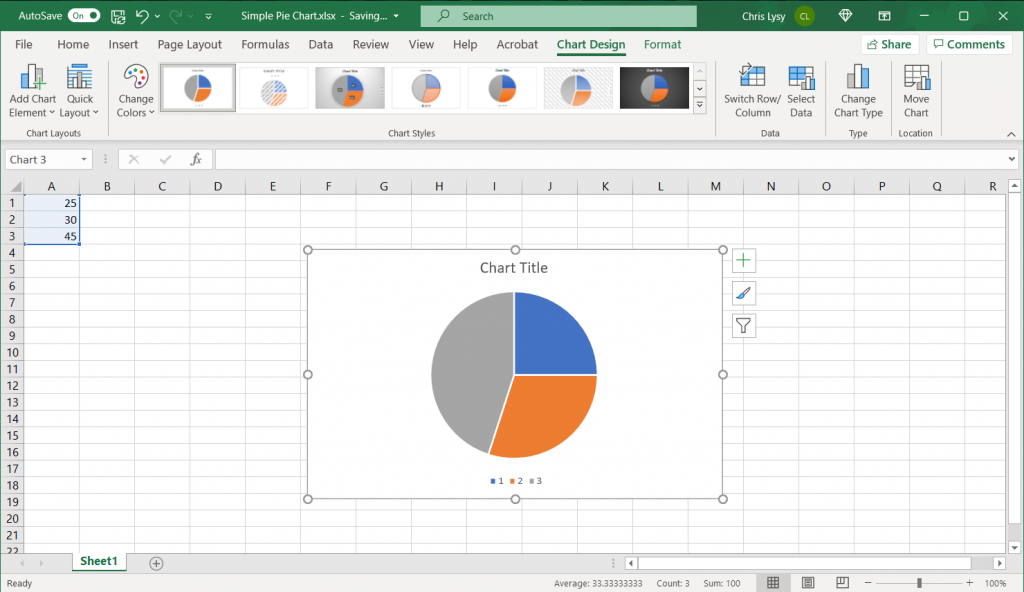 How to make a pie chart in Excel, step 3
