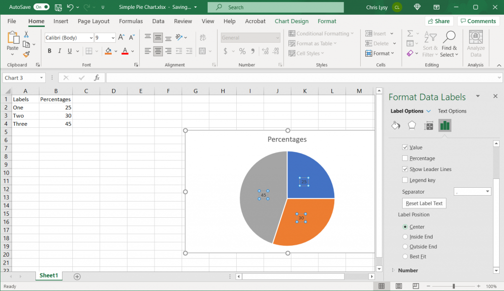 How to make a pie chart in Excel Example Screenshot, Changing the Label Position