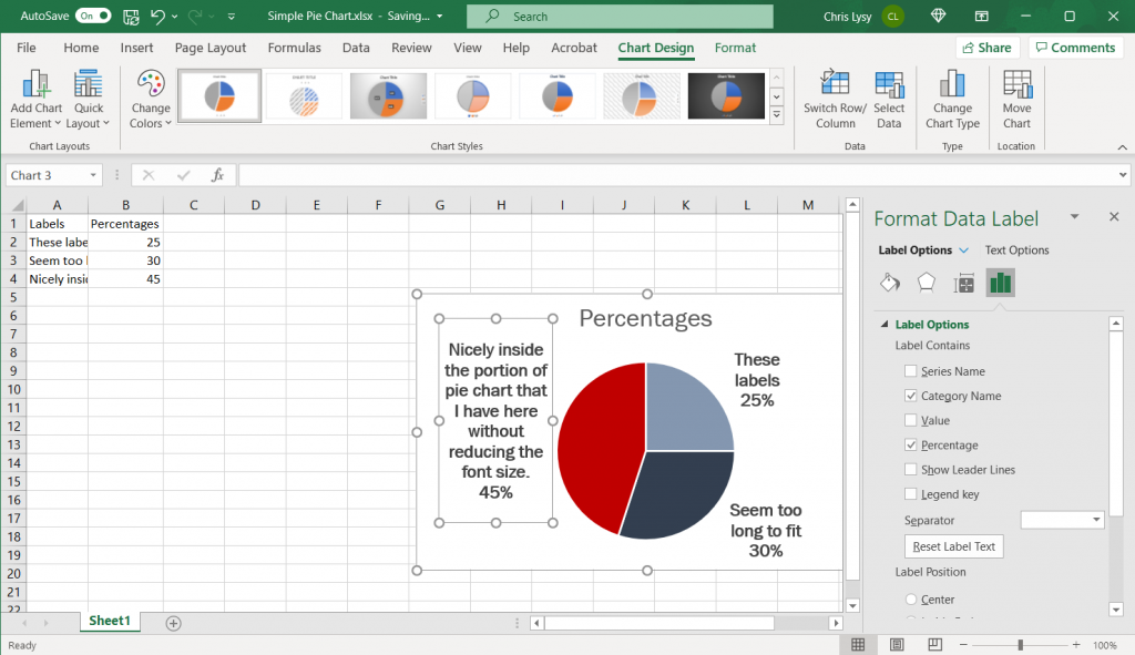 How to make a pie chart in Excel Example Screenshot, what to do with longer category labels