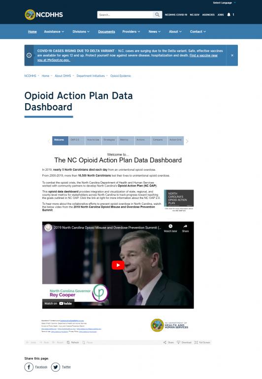 The NC Opioid Action Plan Data Dashboard.  Screenshot taken on 9/21/2021